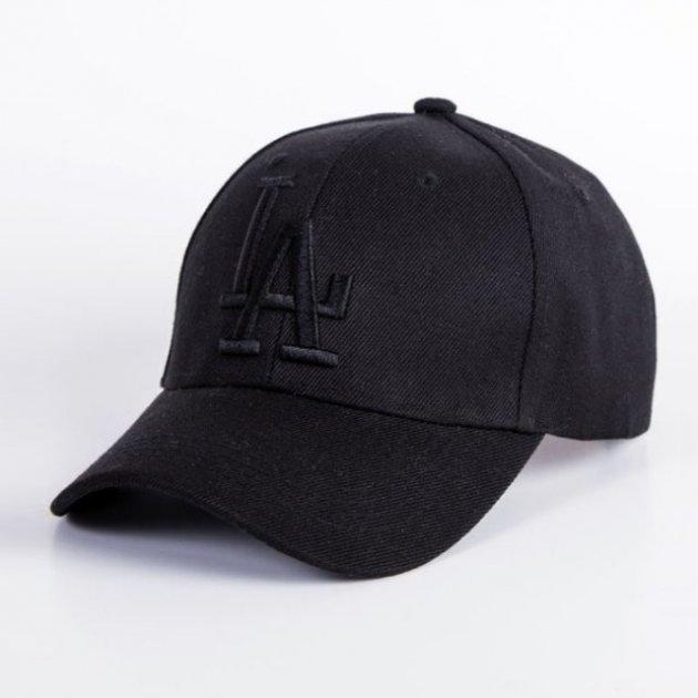 Кепка бейсболка LA (Лос-Анджелес) Повністю Чорна, Унісекс - зображення 1