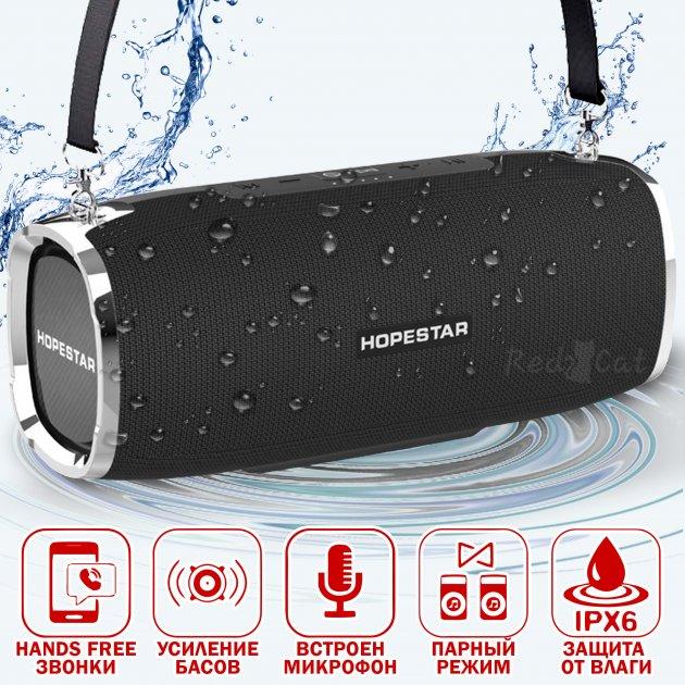 Портативная блютуз колонка Hopestar 35Вт A6 IPX6 микрофон для громкой связи - Bluetooth музыкальная переносная акустическая блютуз Black - изображение 1