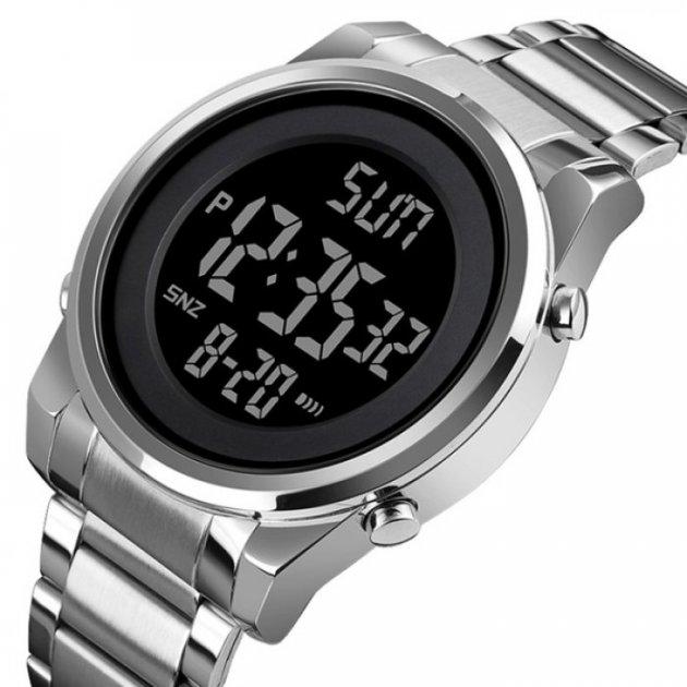 Годинники чоловічі Skmei Impact з металевим браслетом і будильником + підсвітка Сріблястий - зображення 1