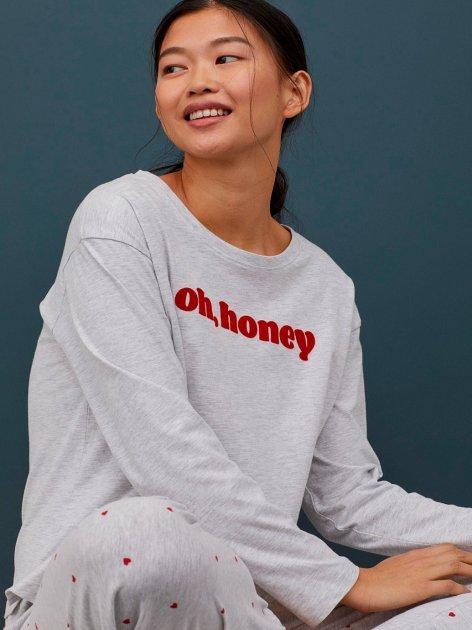 Лонгслив пижамный H&M 0792438-1 M Серый (2000001667514) - изображение 1
