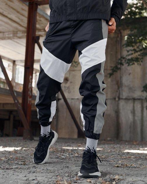 Спортивные штаны Пушка Огонь Split черно-белые с рефлективом XL - изображение 1