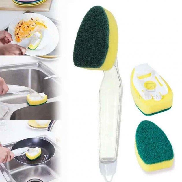 Багатофункціональна губка з Дозатором для миття посуду Dish Sponge економна –економна щітка + резервуар зручного контролю витрати рідини для чищення кухні посуду, Жовтий - зображення 1