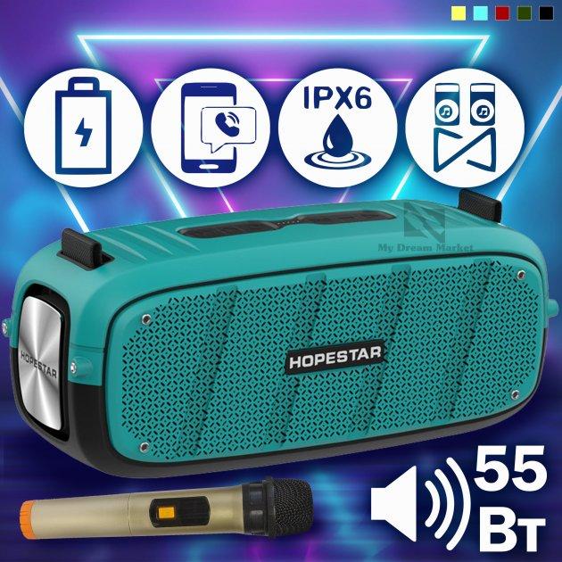 Бездротова колонка Hopestar A20 Pro блютуз вологозахищена - вмонтований сабвуфер для потужного баса - Музична портативна USB акустична система + з картою пам'яті microSD і AUX, Блакитний - зображення 1