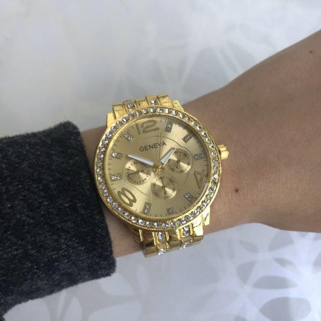 Жіночі годинники з камінням металеві Geneva золотисті (018) - зображення 1