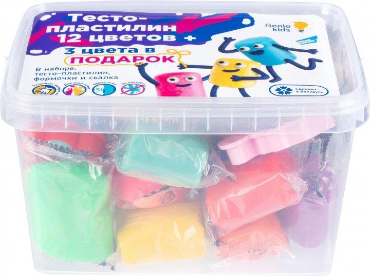 Набор для детской лепки Genio Kids Тесто-пластилин 12 + 3 цвета (TA1068S) (4814723007743) - изображение 1