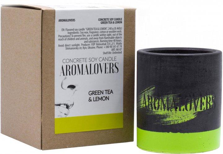 Ароматическая свеча Aromalovers Зелёный чай и лимон соевая в бетоне 240 г (ROZ6206102586) - изображение 1