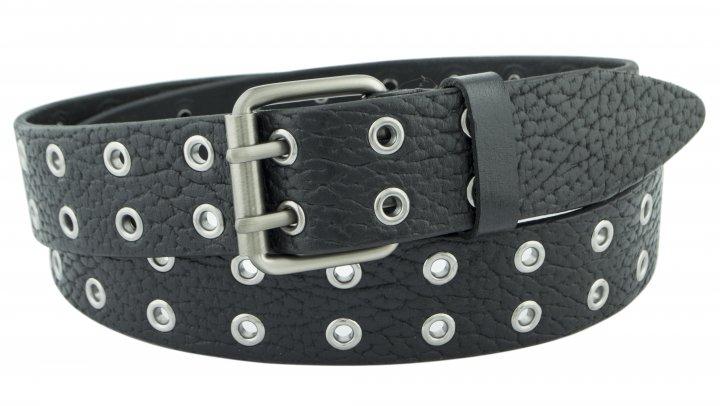 Женский кожаный ремень с люверсами J.K. 4 см для джинсов или платья черный 110-130 см (JK1779) - изображение 1