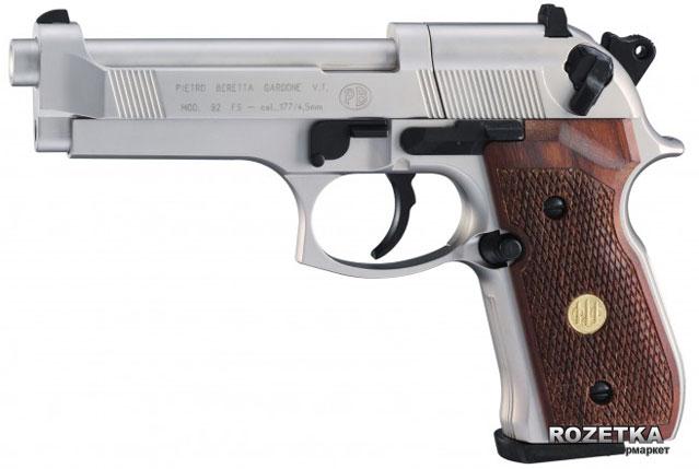 Пневматический пистолет Umarex Beretta 92 FS Nickel/wood (419.00.03) - изображение 1