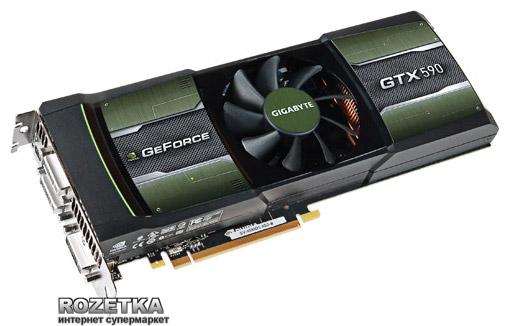 Gigabyte PCI-Ex GeForce GTX590 3072MB GDDR5 (768bit) (607/3414) (3 х DVI-I, HDMI, mini HDMI, mini DisplayPort) (GV-N590D5-3GD-B) - изображение 1