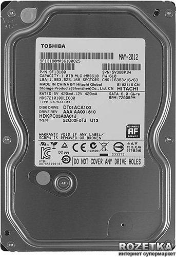 Жорсткий диск Toshiba 1TB 7200rpm 32MB DT01ACA100 3.5 SATA III - зображення 1