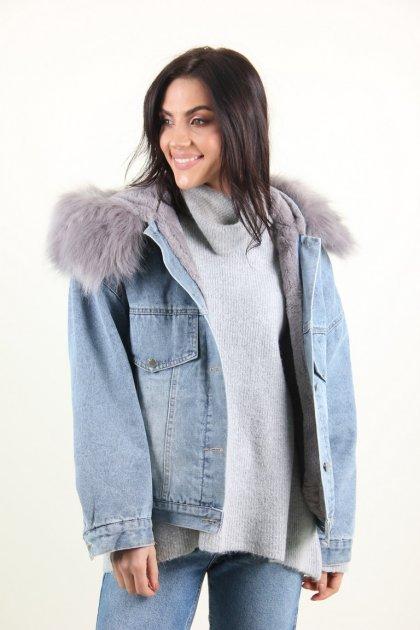 Куртка женская M.J. 1021 искусственный мех (Синий M/L) - изображение 1