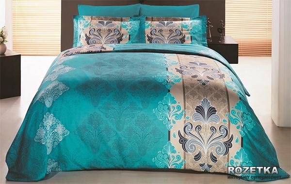 Комплект постельного белья Gokay Сатин Embro Turkuaz 200х220 Бирюзовый (01007904) - изображение 1