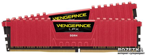 Оперативна пам'ять Corsair DDR4-3200 16384MB PC4-25600 (Kit of 2x8192) Vengeance LPX (CMK16GX4M2B3200C16R) Red - зображення 1