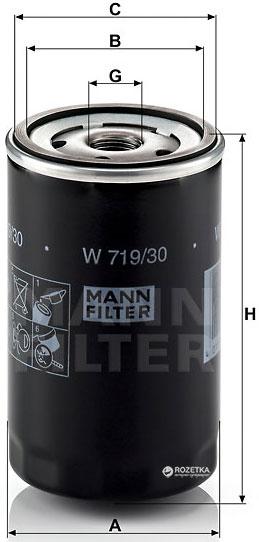 Фильтр масляный MANN W 719/30 - W 719/25 - изображение 1