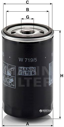 Фильтр масляный MANN W 719/5 - изображение 1