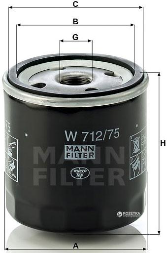 Фільтр масляний MANN W 712/75 - W 712/22 - зображення 1