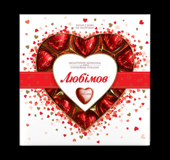 Конфеты Любимов Сердечки в молочном шоколаде 125 г (4820005195091) - изображение 1