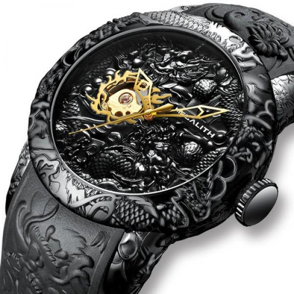 Мужские механические часы Megalith Black наручные классические на силиконовом ремешке + коробка (1088-0032) - изображение 1