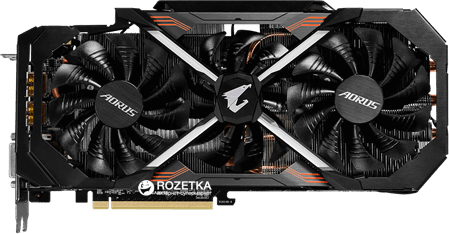 Gigabyte PCI-Ex GeForce GTX 1080 Ti Aorus 11GB GDDR5X (352bit) (1569/11010) (DVI, 3 x HDMI, 3 x Display Port) (GV-N108TAORUS-11GD) - изображение 1
