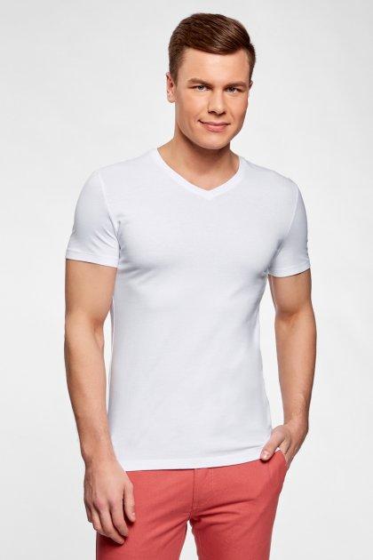 Чоловіча біла футболка Oodji XXL 5B612002M/46737N/1000N - зображення 1
