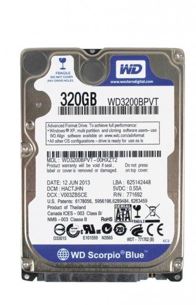 Жорсткий диск Western Digital Blue 320GB 5400rpm 8MB WD3200BPVT 2.5 SATA II Refurbished - зображення 1