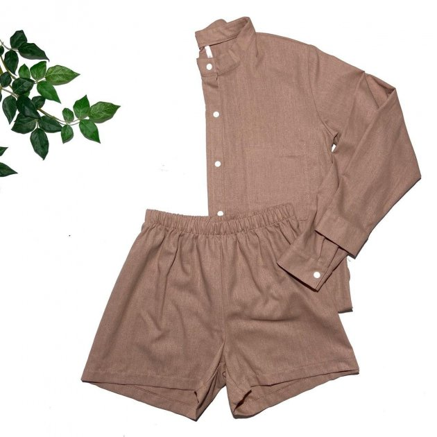 Пижама льняная Mi_Sleepys набор шорты/рубашка L бежевая 1-ru - изображение 1