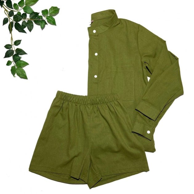 Пижама льняная Mi_Sleepys набор шорты/рубашка L зеленая-хаки 2-ru - изображение 1