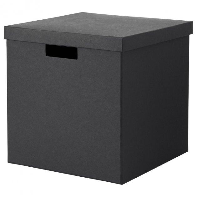 Коробка с крышкой IKEA TJENA 30x30x30 см черная 503.954.76 - изображение 1