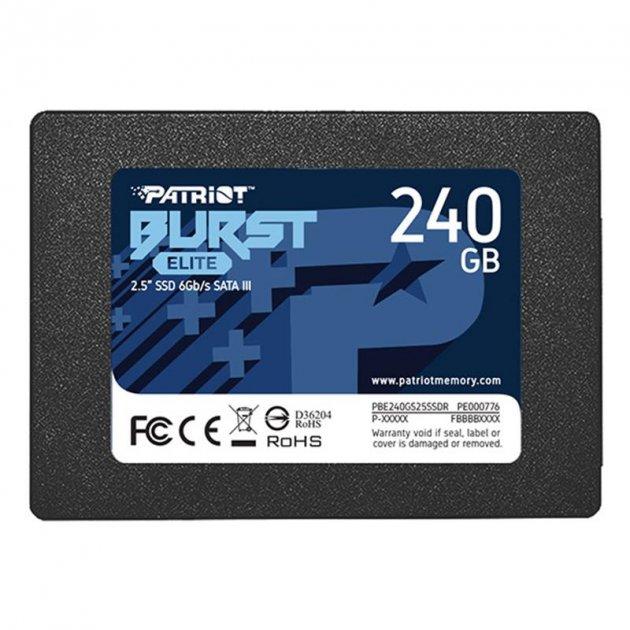 """Накопичувач SSD 240GB Patriot Burst Elite 2.5"""" SATAIII TLC (PBE240GS25SSDR) - зображення 1"""