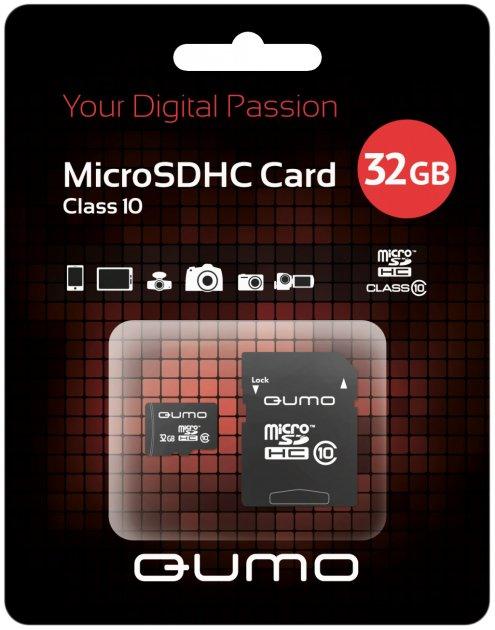 Карта памяти Qumo 32 GB microSDHC class 10 + SD adapter - изображение 1
