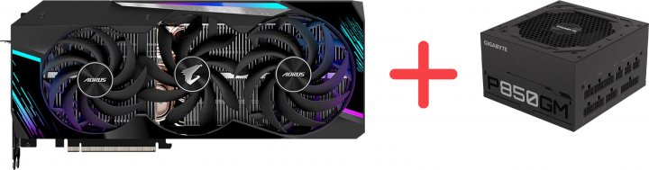 Gigabyte PCI-Ex GeForce RTX 3090 Aorus Master 24GB GDDR6X (384bit) (1695/19500) (3 х HDMI, 3 x DisplayPort) (GV-N3090AORUS M-24GD) + Блок питания Gigabyte P850GM 80+ Gold Modular (P850GM) в подарок! - зображення 1