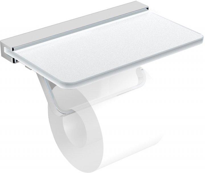 Тримач для туалетного паперу VOLLE Teo 15-88-446 з поличкою матове скло/хром - зображення 1