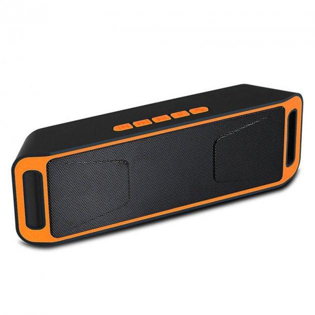 Акустична система UKC портативна колонка Megabass A2DP Stereo Bluetooth USB FM 20см Оранжево-чорна (SC-208-2) - зображення 1