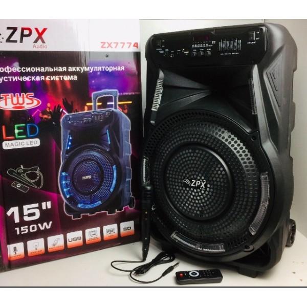 Професійна акумуляторна акустична система ZPX колонка-валіза зі світломузикою і мікрофоном 150W (ZX7774) - зображення 1
