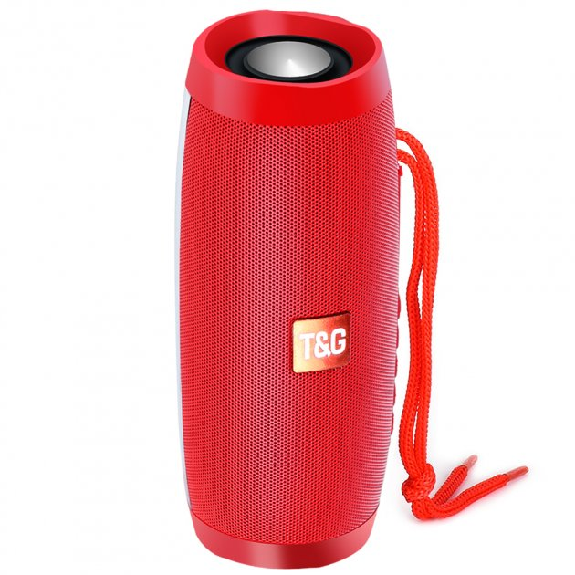 Портативная акустическая колонка T&G с LED-подсветкой и шнурком для переноски Bluetooth 10Вт Красная (TG157stereo-02) - изображение 1
