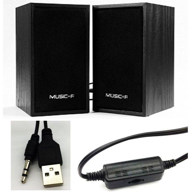 Колонки для ПК и ноутбука компактные и мощные Music-F D-09 Black - изображение 1