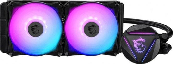 Система водяного охолодження MSI MAG CoreLiquid 240R; Intel: LGA2066//2011/1151/1150/1155/1156/LGA1366, AMD: AM4/AM3+/AM3/AM2+/AM2/FM2+/FM2/FM1, 274x120x27 мм, 4-pin - зображення 1