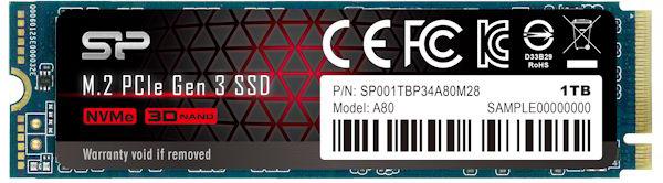 Silicon Power P34A80 1TB M.2 2280 PCIe 3.0 x4 NAND TLC (SP001TBP34A80M28) - зображення 1