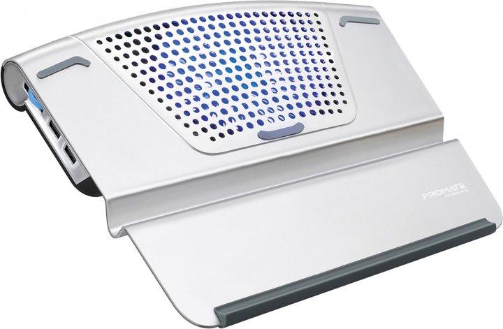 Підставка для охолодження ноутбука Promate AirBase-6 Silver (airbase-6.silver) - зображення 1