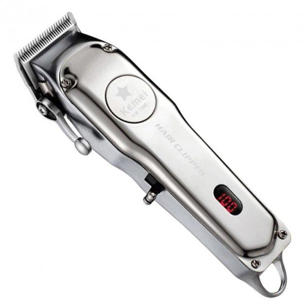 Машинка Barber Kemei KM-1996 для профессиональной стрижки с сменными насадками металлический корпус с дисплеем - изображение 1