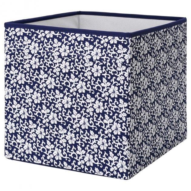 Коробка IKEA DRÖNA 33x38x33 см подарункова синя біла з візерунком 102.819.57 - зображення 1