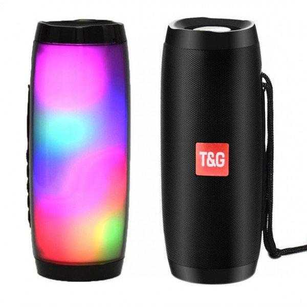 Портативна Bluetooth колонка T&G 157 Pulse з різнокольоровою підсвіткою, гучний зв'язок, вологостійка. Чорна - зображення 1