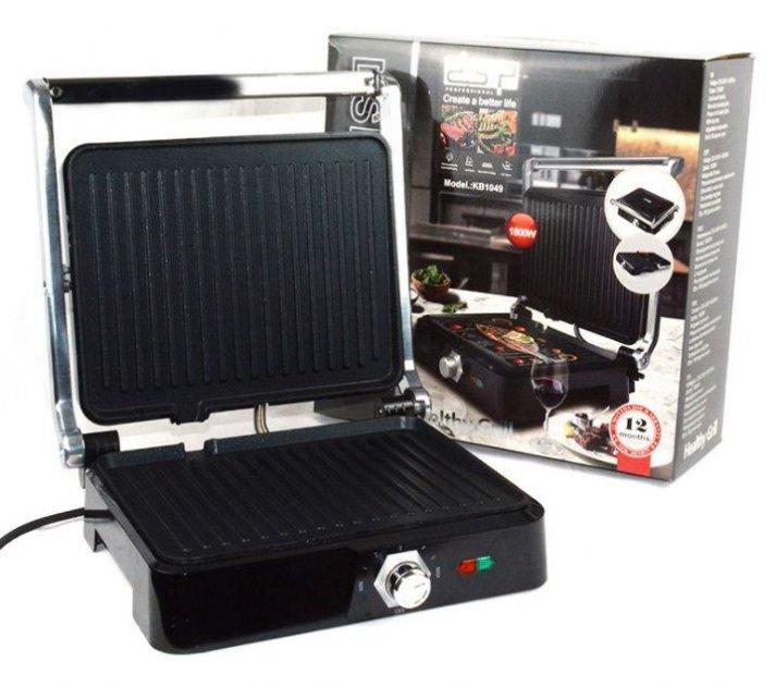 Прижимной гриль DSP Чёрный, антипригарное покрытие, регулировка температуры, открывается на 180 градусов - изображение 1