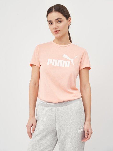 Футболка Puma ESS Logo Heather Tee 58687626 XS Apricot Blush Heather (4063697253612) - изображение 1