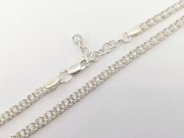 Серебряный женский браслет Арабский Бисмарк с кастом с белыми камнями 17см / 4мм - изображение 1