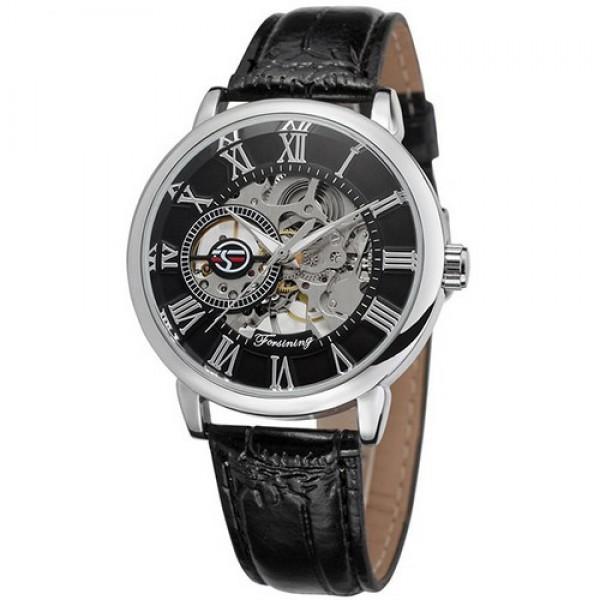 Наручные часы Forsining 8099 Black-Silver-Black мужские механические + подарочная коробка - изображение 1
