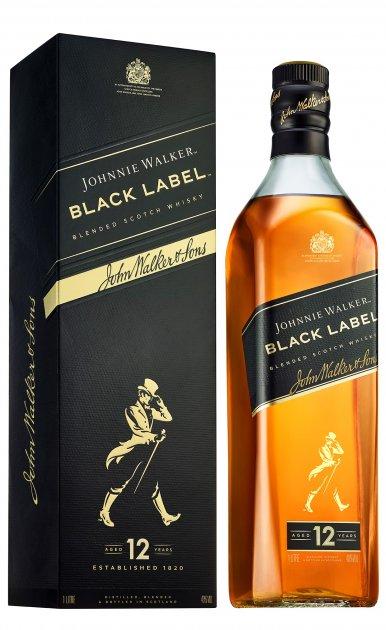 Виски Johnnie Walker Black label 12 лет выдержки 1 л 40% в подарочной упаковке (5000267023625) - изображение 1