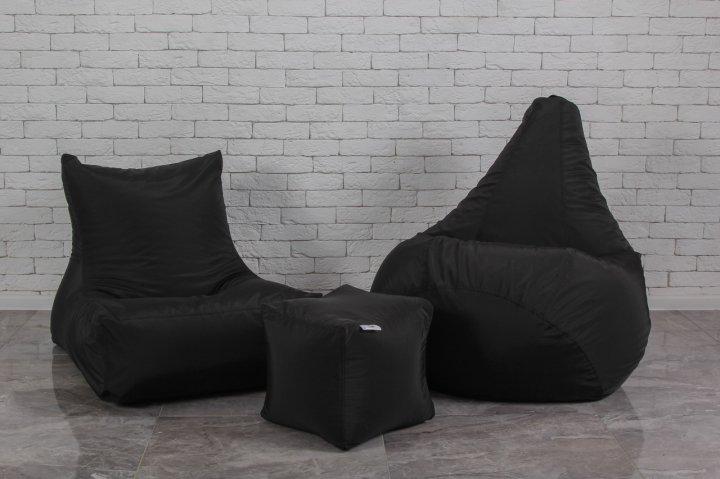 Набір безкаркасних м'яких меблів чорного кольору (крісло груша, диван, пуф) - зображення 1