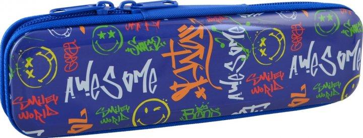 Пенал Yes Smiley world металлический 1 отделение Синий (532280) - изображение 1