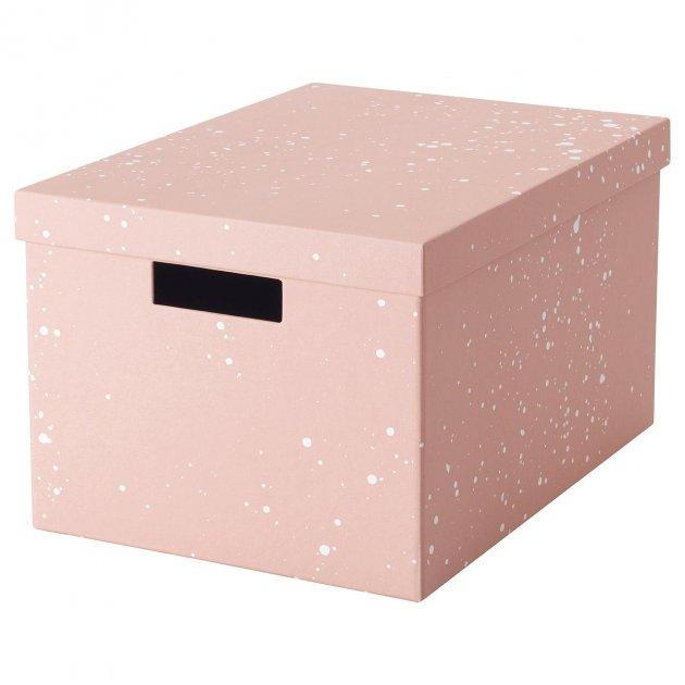 Коробка с крышкой IKEA TJENA 25x35x20 см розовая 404.038.15 - зображення 1
